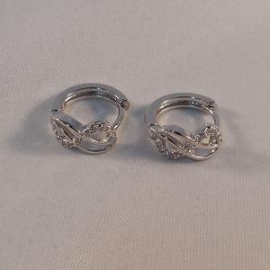 Jewelry - 18K WG Love Infinity Topaz Zircon Huggie Earrings